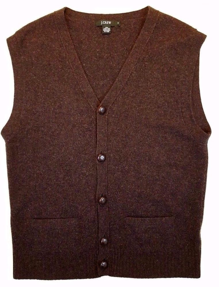 J. CREW Lambswool SWEATER Vest CARDIGAN Brown BUTTON Front MENS ...
