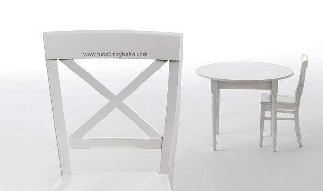 silla cocina madera blanca laca | tu Cocina y Baño | mesas sillas y ...