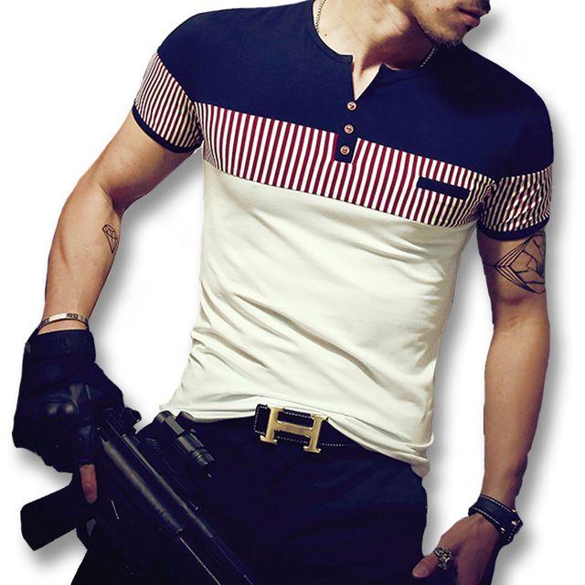 2016 m - 5xl nouveaux hommes Hombre Tees Tops été manches courtes T chemises  hommes Casual mode Slim Fit hommes durs Style T chemises Camisa 3fbc5205579