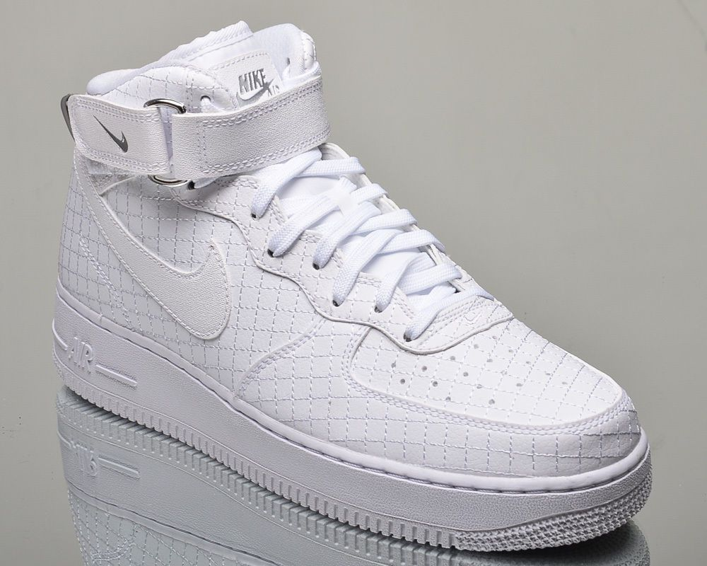 mens nike white air force 1 mid trainers