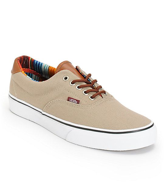 The Vans Era 59 Dune and multi stripe shoes are a stylish low-profile pair