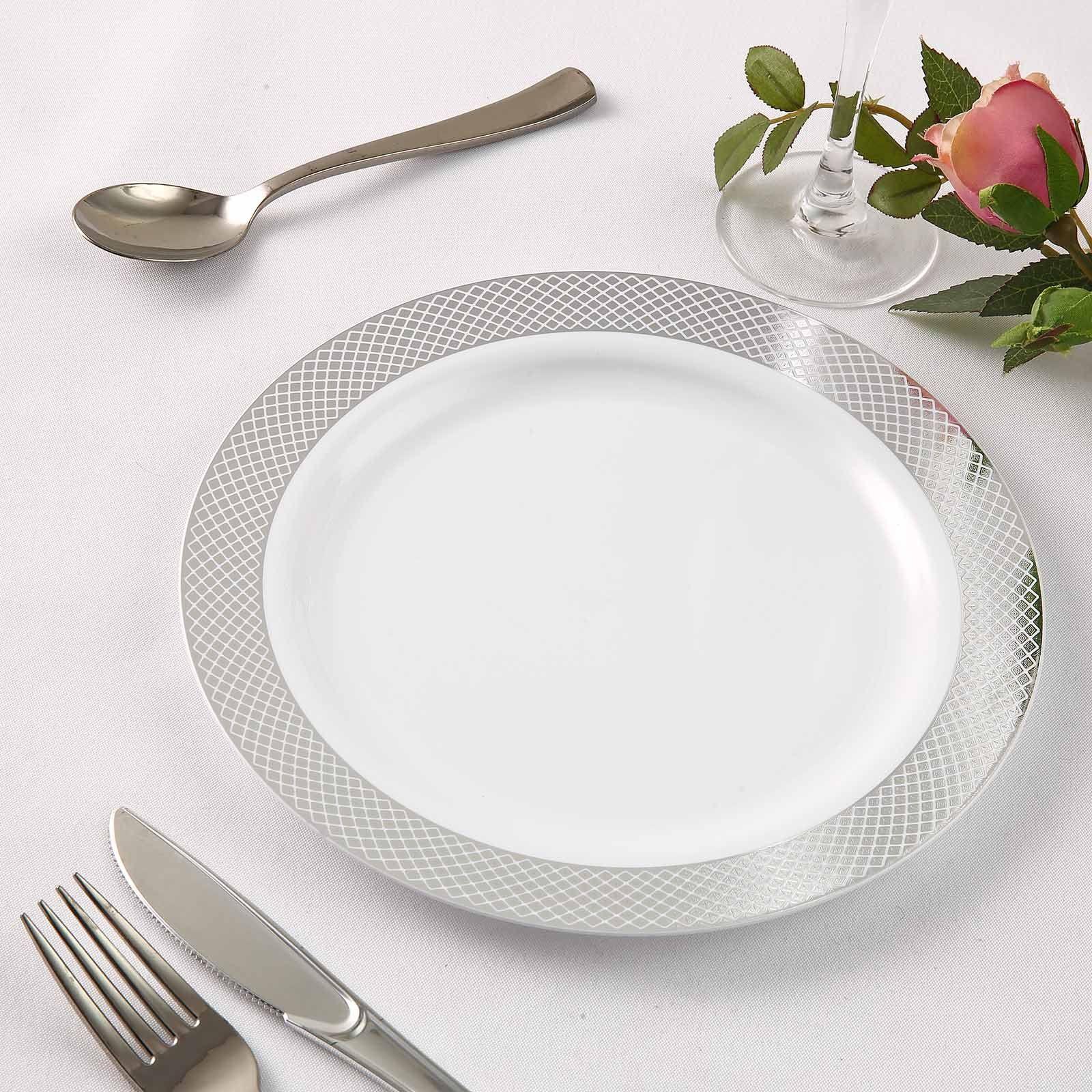10 Pack 9 White Round Disposable Plastic Dinner Plates With Silver Diamond Rim Elegant Plastic Dinnerware Plastic Dinnerware Diamond Rims