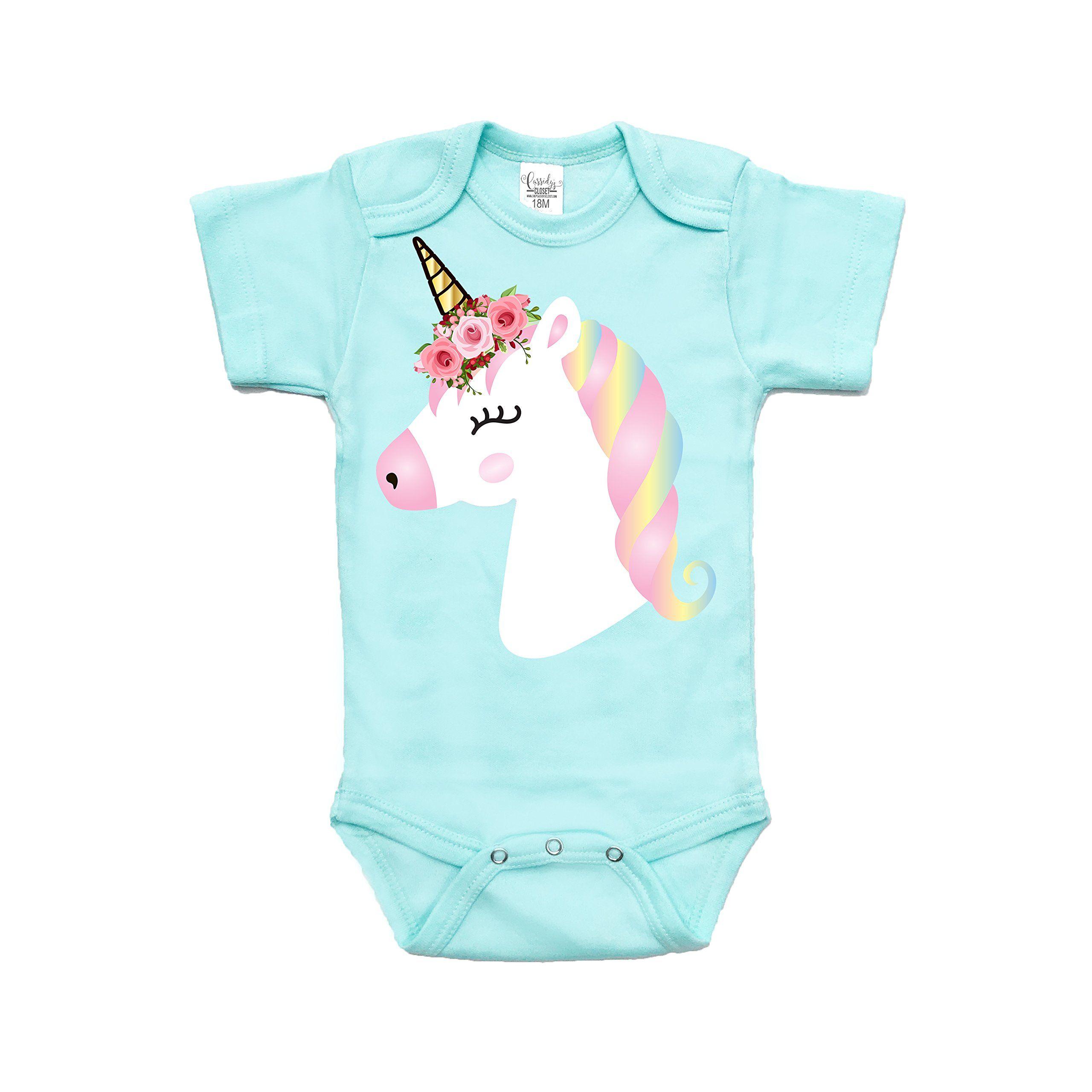 Cute Baby Girl Unicorn Bodysuit Usa Made Non Toxic, Baby Safe
