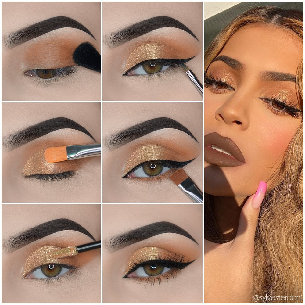 Chic Eye Makeup Step By Step Tutorials From Fashion Celebrities In 2020 Gold Eye Makeup Eye Makeup Steps Kylie Jenner Eye Makeup
