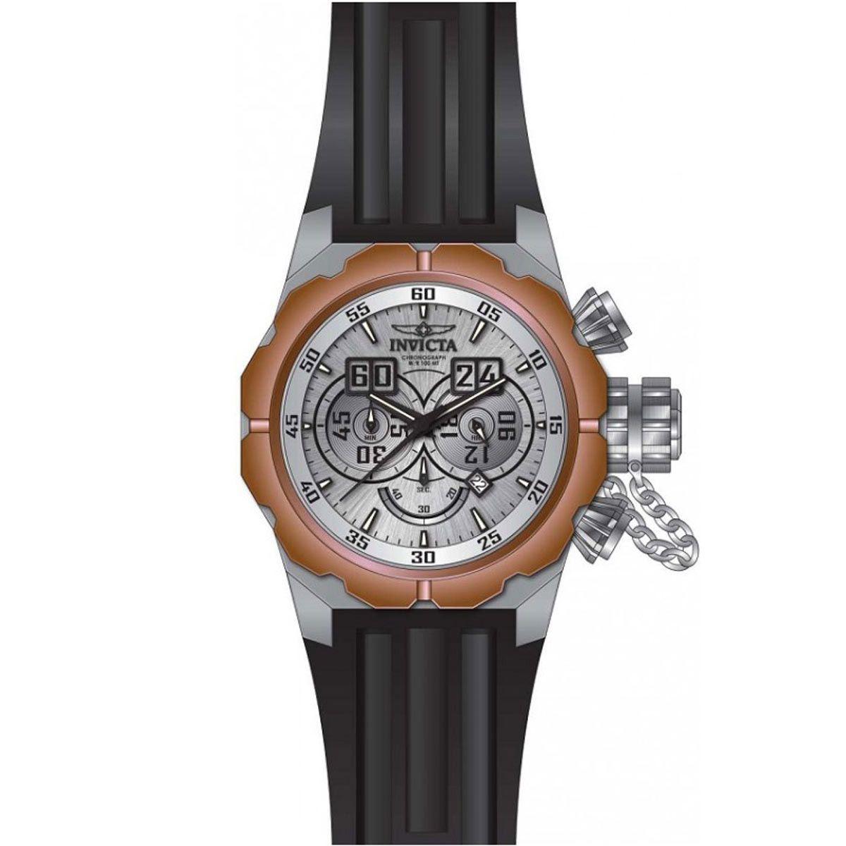 Invicta 21679 Men's Russian Diver Chronograph Black Silicone Strap Silver Dial Date Watch