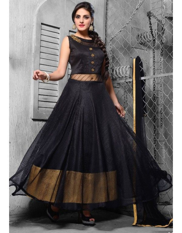 5e6c6c27c2 Marvelous Black and Golden Chudidar Kameez Suit | Readymade Salwar ...