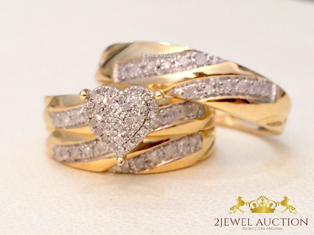 4 CT His Her Diamond Engagement Bridal Wedding Band Trio Ring Set 14K Gold Over