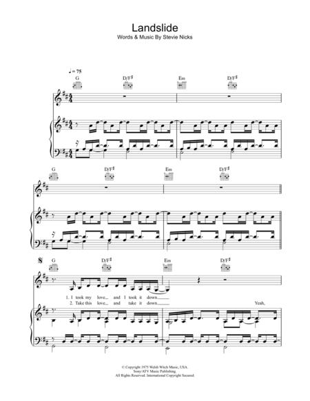Landslide Fleetwood Mac Piano Sheet Music My Favourite Things