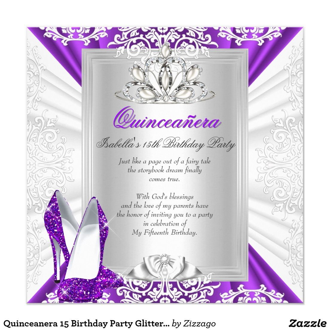 Quinceanera 15 Birthday Party Glitter Purple Heels Invitation ...