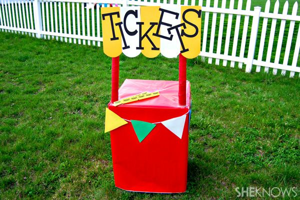 DIY cardboard ticket booth. Simple booth for circus parties or carnival parties.