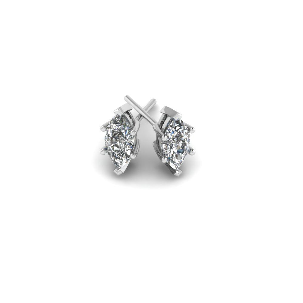 One Carat Marquise Diamond Stud Earrings In 14k White Gold Exclusively Styled By Fascinating Diamonds