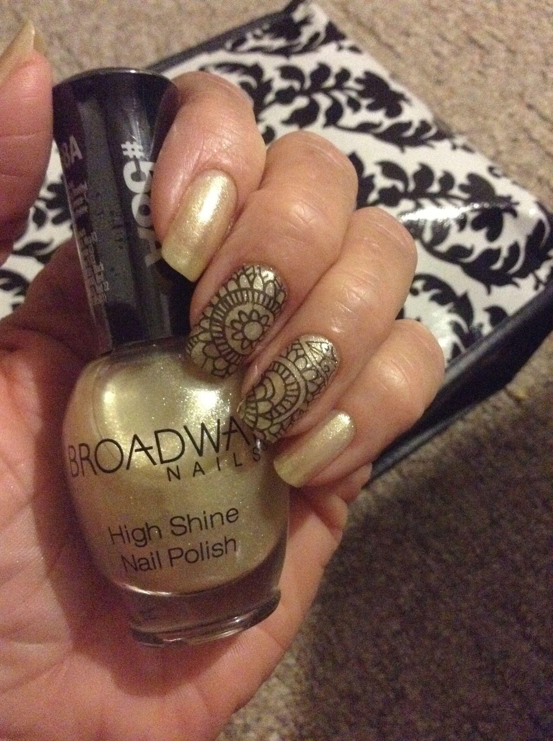 Broadway Nails Pearl Ivory with black nail stamping. | My nails ...