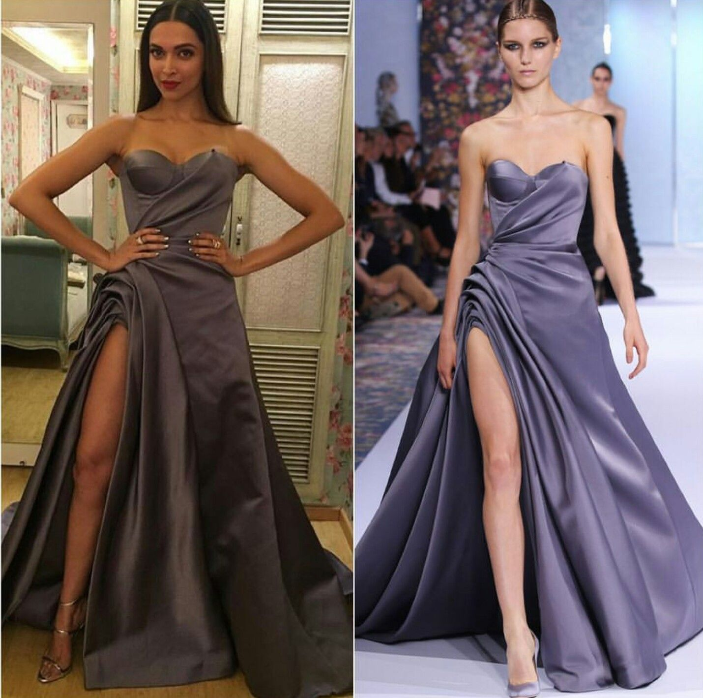 Deepika padukone wearing pale mauve gown by Ralph and ...