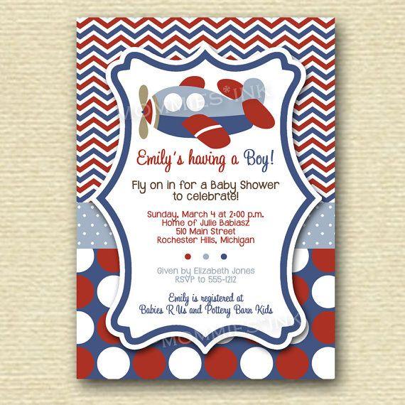 Chevron Polka Dot Airplane Baby Shower Invitation PRINTABLE