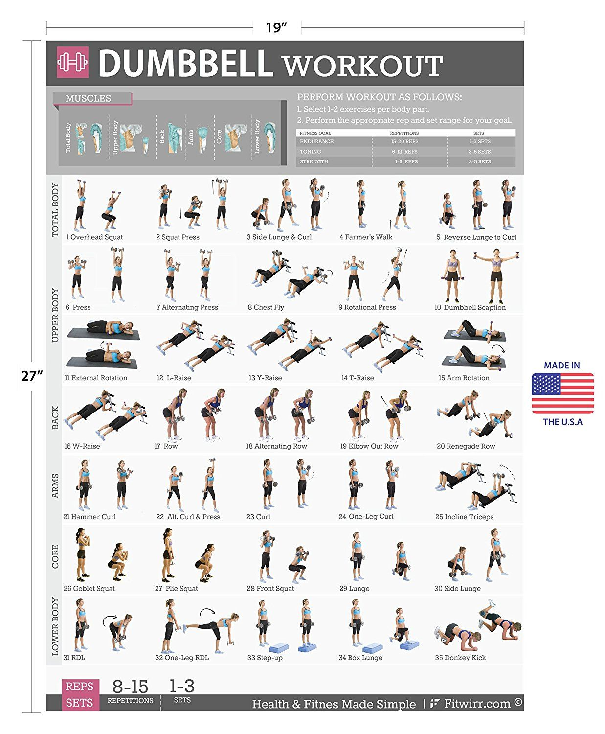 Dumbbell exercises workout poster now laminated strength training chart home gym weight lifting routine plans for women body toning also rh pinterest