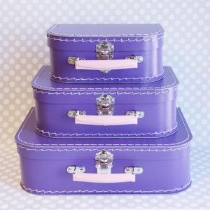 Purple Paper Suitcase Set