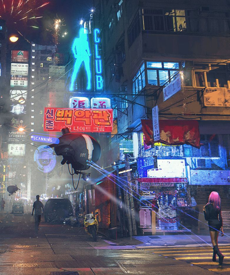 Hong Kong Art: Hong Kong Street Patrol By Artist Sergey Zabelin.