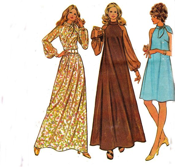 1970s Vintage sewing pattern High Neck Maxi Tent Dress McCall\'s 3450 ...