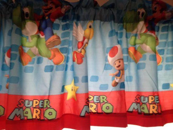 Super Mario Window Valance Custom Made By Cheriessewcrafty 19 99 Window Valance Round Curtain Rod Valance