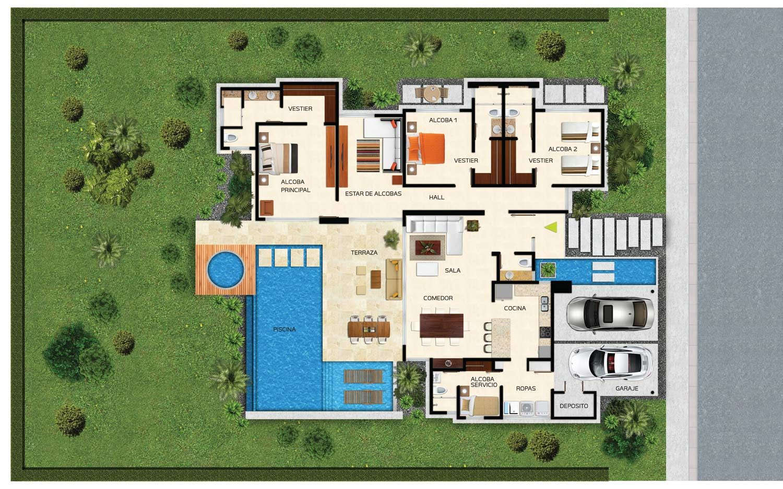 Planos casa campestre moderna con piscina buscar con google casa mesa santos pinterest - Casa con piscina ...
