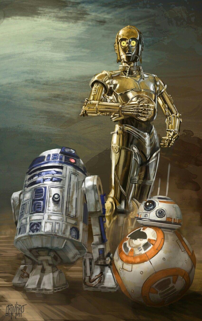 R2d2 C3po And Bb 8 Star Wars Painting Star Wars Wallpaper Star Wars Poster