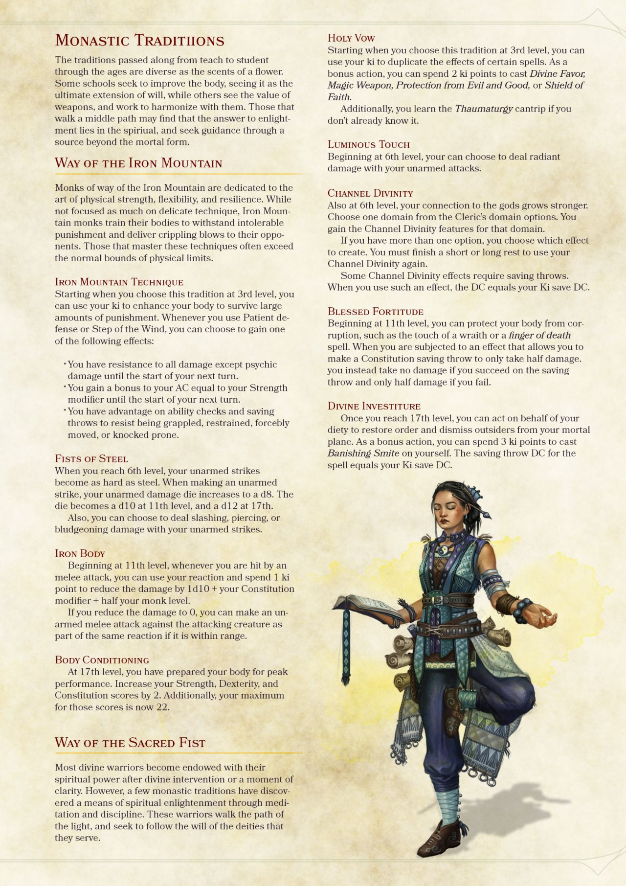 DnD 5e Homebrew — Barbarian, Fighter, Monk and Rogue subclasses by