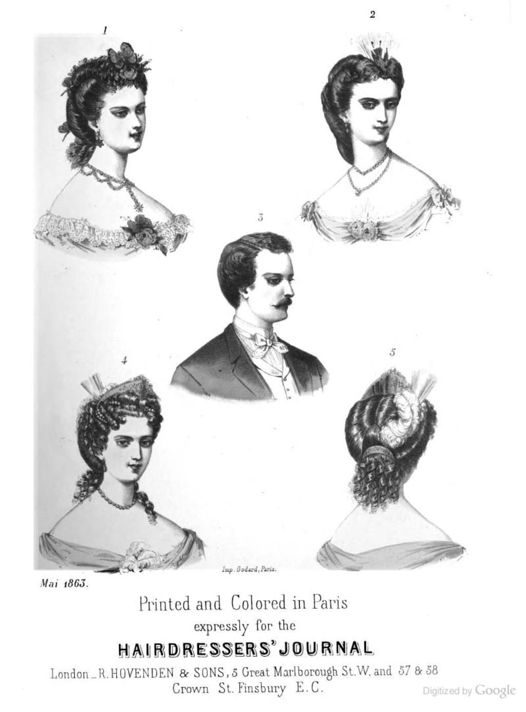 1863 Hairdressers Journal French Plate 1 Coiffure Suited To A