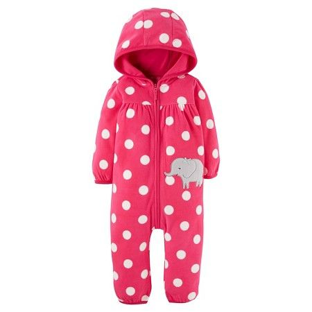 8f232a4d98c7 Baby Girls  Fleece Hooded Polka Dots Elephant Jumpsuit Just One You ...