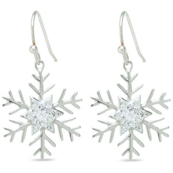 Belk Silverworks Gray Fine Silver Plated Crystal Snowflake Drop... ($14) ❤ liked on Polyvore featuring jewelry, earrings, grey, crystal jewelry, crystal snowflake jewelry, silver plating jewelry, crystal drop earrings and crystal stone jewelry