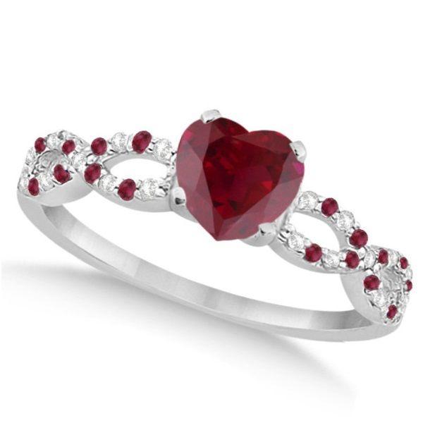 FB Jewels 10k White Gold Genuine Birthstone Solitaire Round Gemstone Heart Wedding Engagement Statement Ring