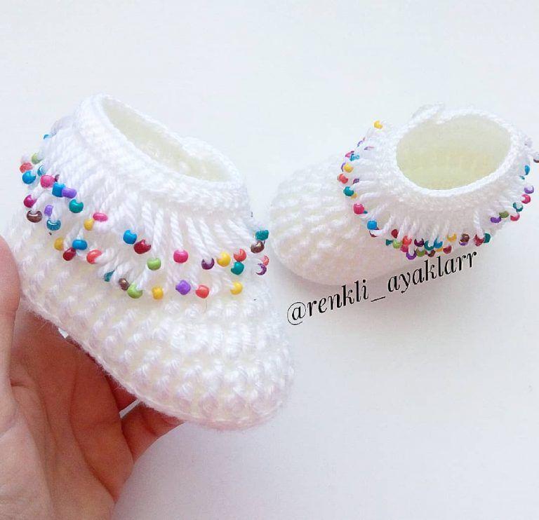 Çok Popüler Renkli Boncuklu Bebek Patik Örgü Yapılışı #crochetbabycocoon