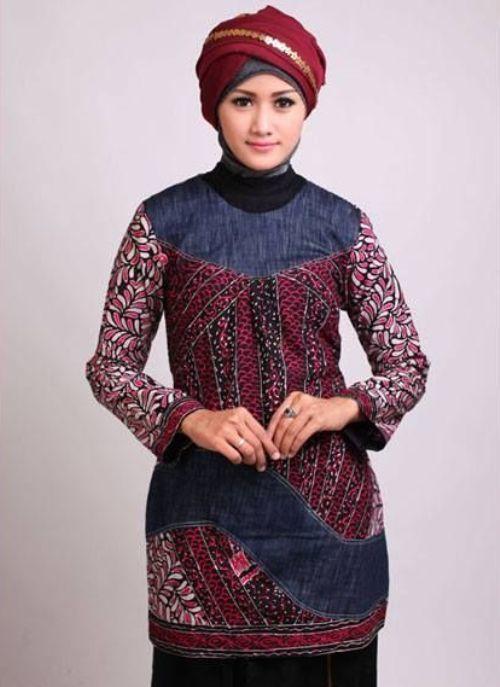 Model Baju Batik Kantor Wanita Berjilbab 4 Kebaya Baju