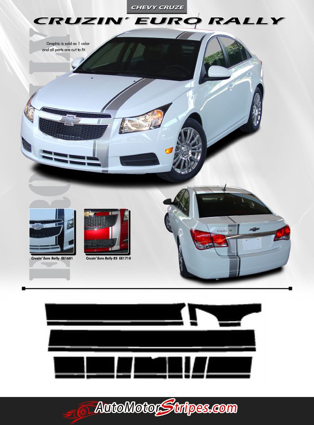 Chevy cruze e rally euro style racing stripes hood roof trunk bumpers vinyl graphics kit