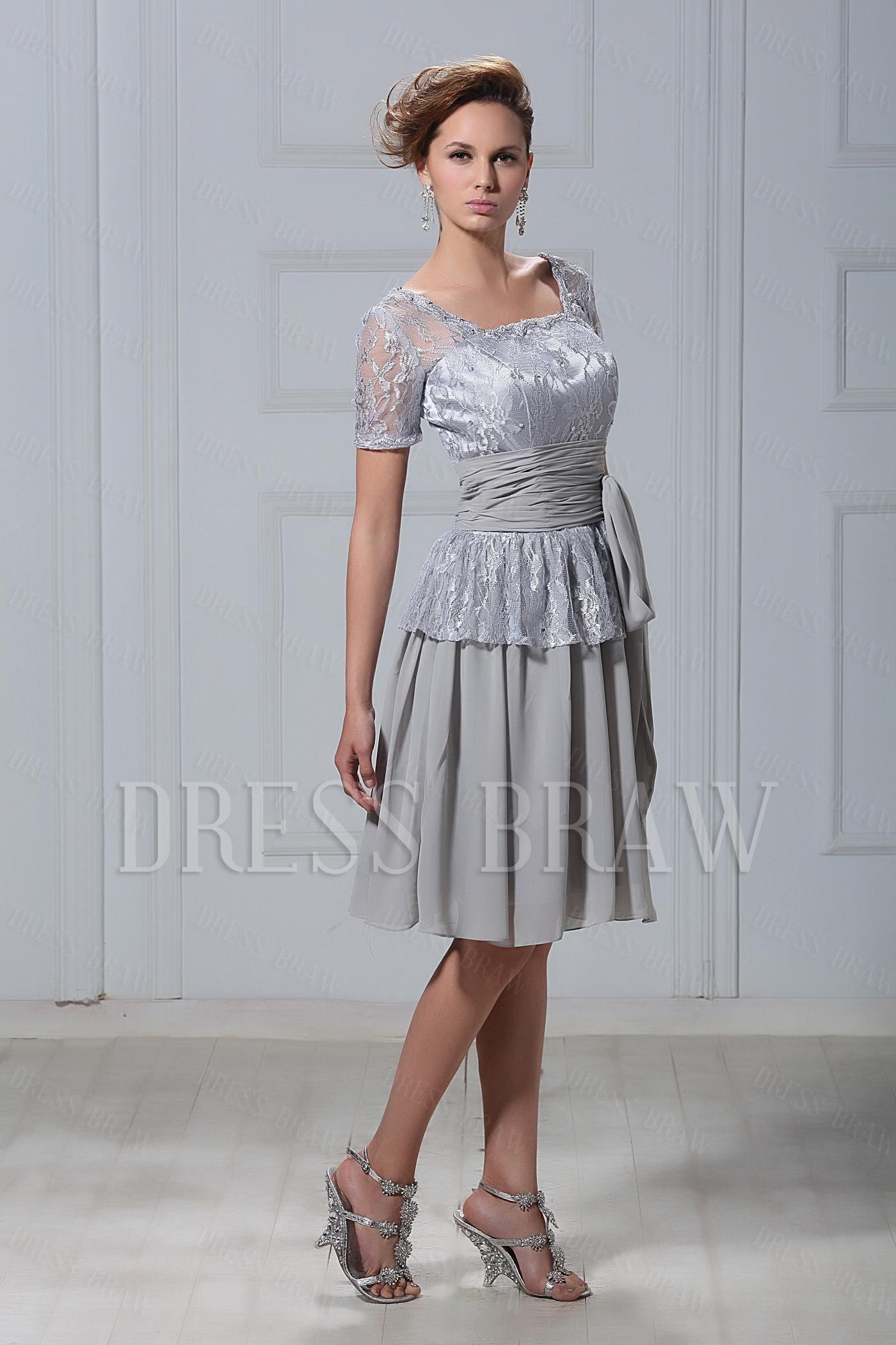 Classic princess square neckline capped sleeves kneelength