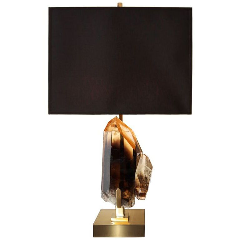Beautiful Willy Daro Smoky Rock Crystal And Bronze Lamp