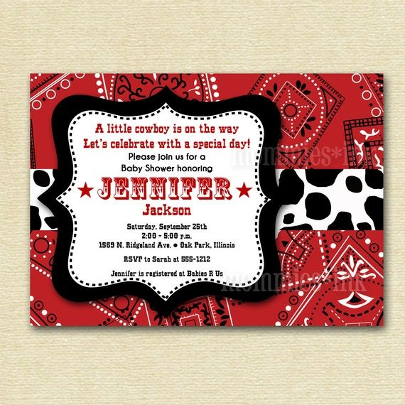 Western Cowboy Bandana Baby Shower Invitation PRINTABLE INVITATION - Cowboy birthday invitation template