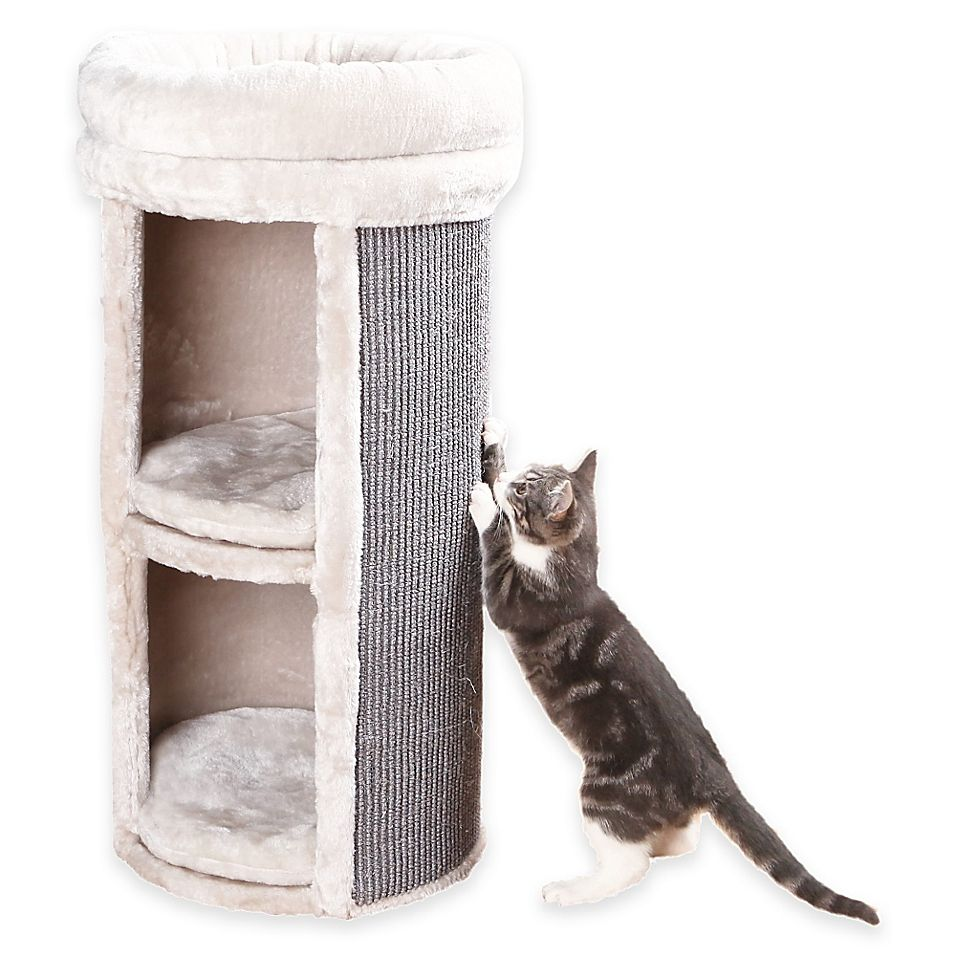 Mexia 2 Story Cat Tower With 2 Hideaways In Grey Beige Bed Bath Beyond Cat Tower Cat Condo Cat Furniture