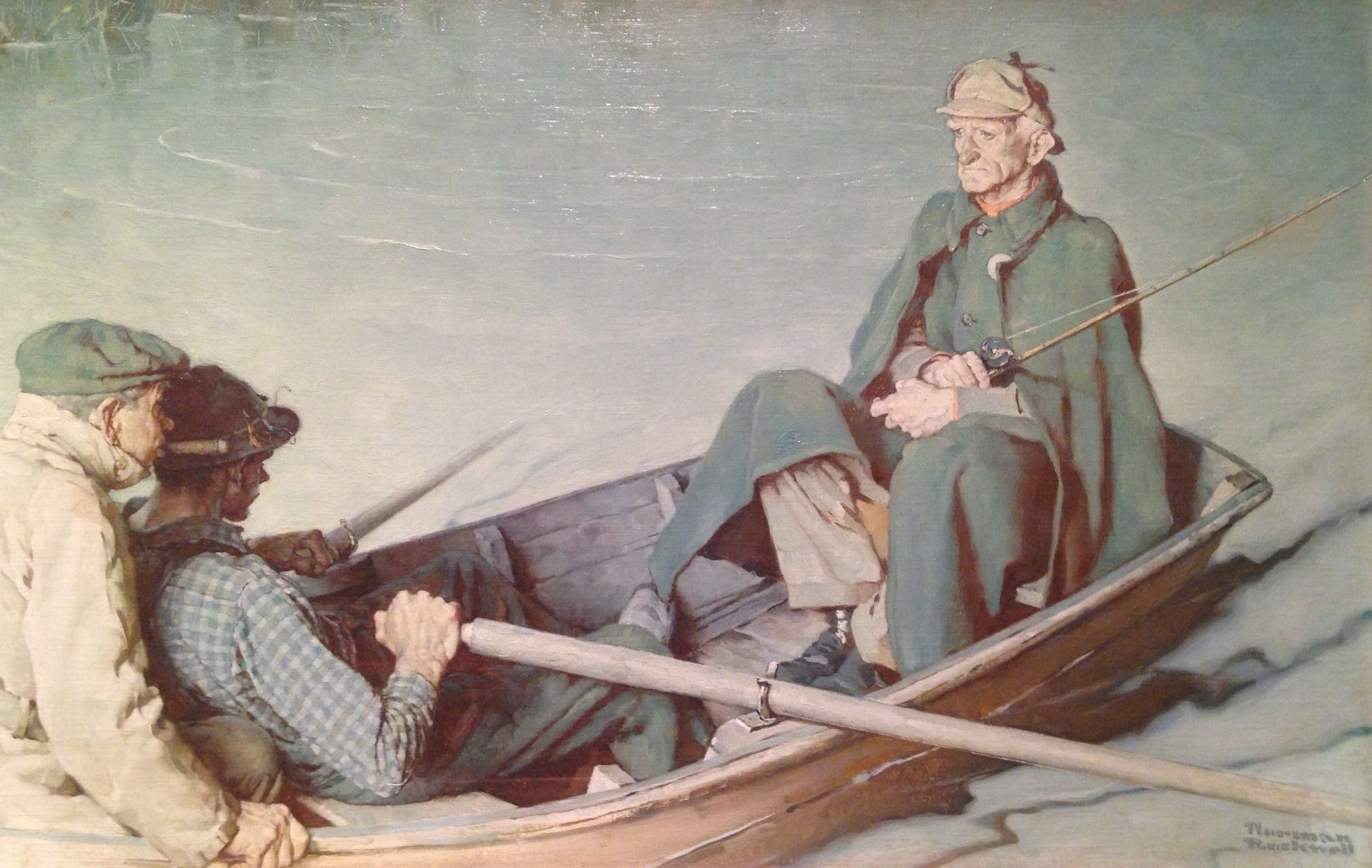 Norman Rockwell 1894 1978 Turn Of The Tide Get That Fish On