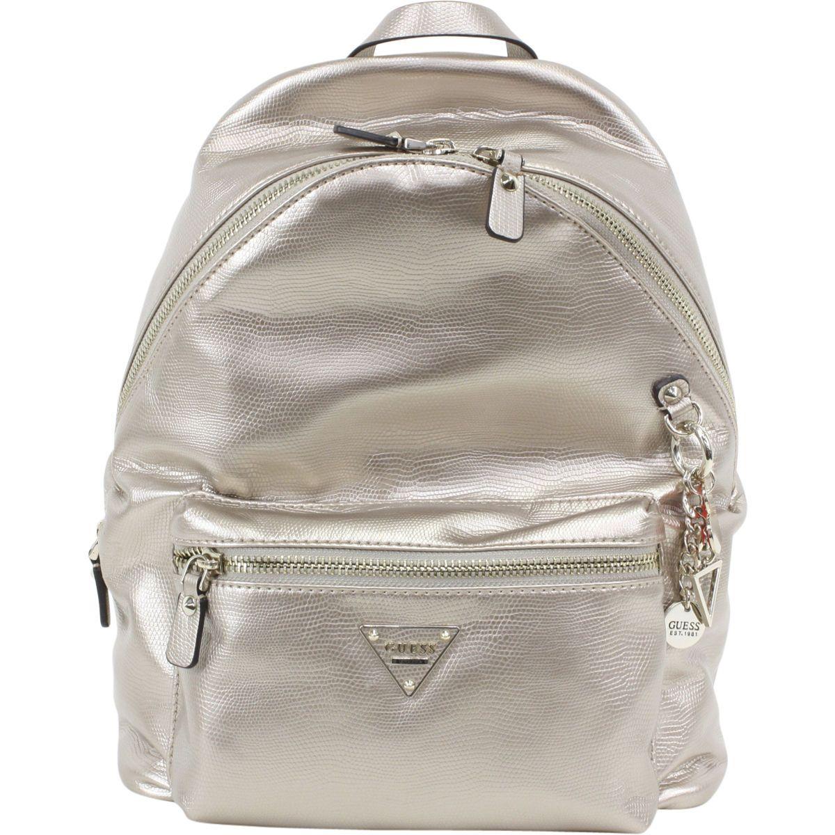 Guess Womens Cool School Leeza Gold Book Bag Backpack