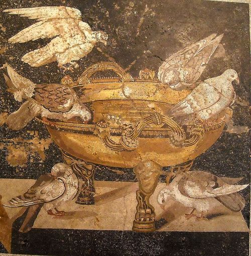 """Doves watering"" - mosaic from the House of the Doves at Pompeii - Naples Archaeological Museum"