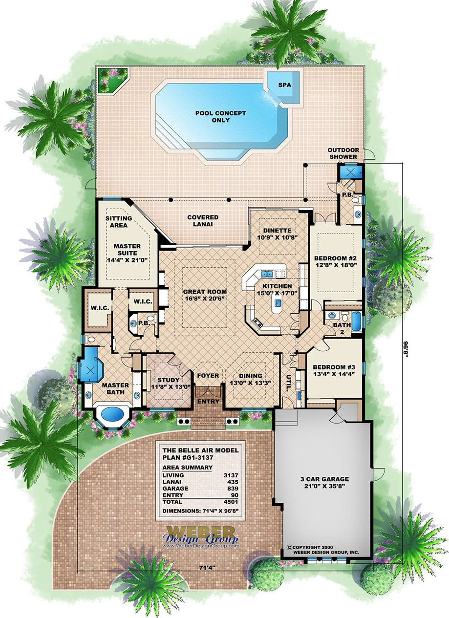 Mediterranean House Plan 1 Story Tuscan Style Waterfront Floor Plan Mediterranean Style House Plans Mediterranean House Plans Coastal House Plans