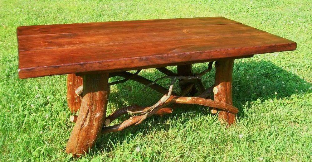 Tree Trunk Rustic Wood Coffee Table Log Cabin Adirondack Furniture