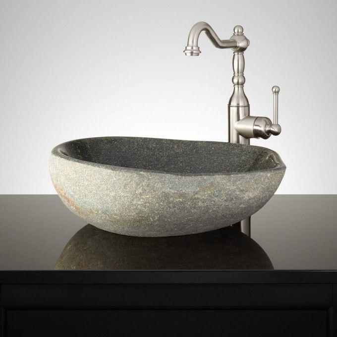 Nordheimer Honey Onyx Mosaic River Stone Vessel Sink Stone Vessel Sinks Sink Sink Faucets