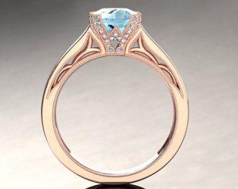 Aquamarine Engagement Ring Aquamarine Ring by WinterFineJewelry