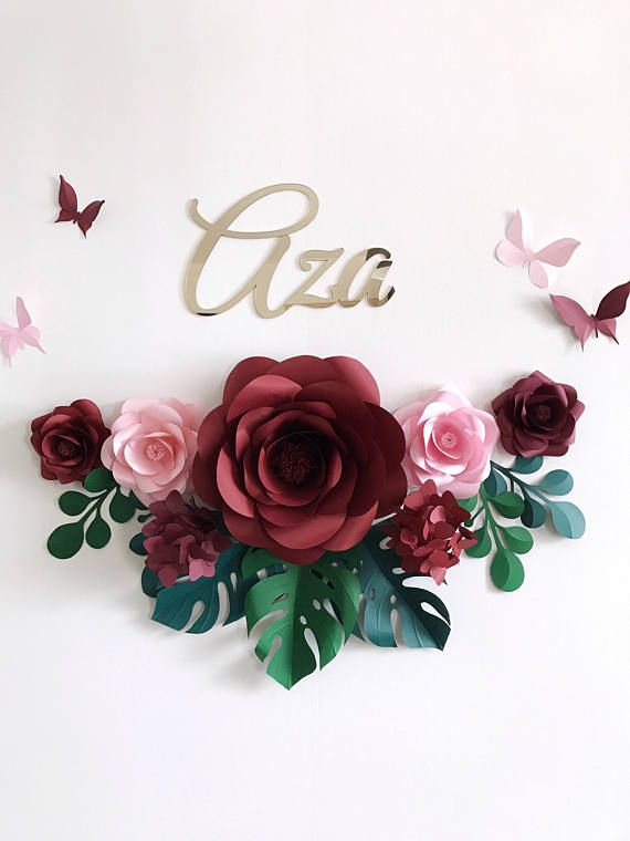 Conjunto De 7 Flores De Papel Para Decoracion De Pared De Flores