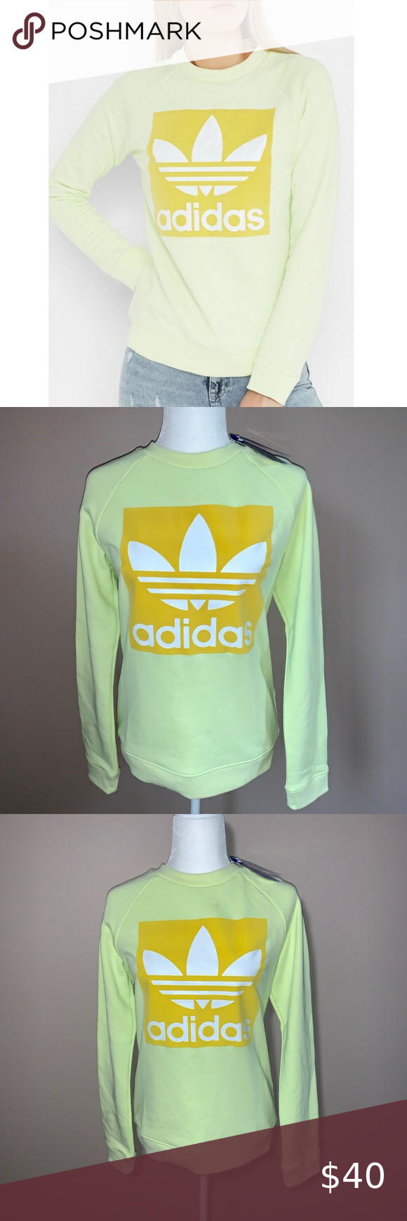 Women S Adidas Trefoil Crew Nwt Sold Adidas Trefoil Crew Neck Sweatshirt Adidas Tops [ 1740 x 580 Pixel ]