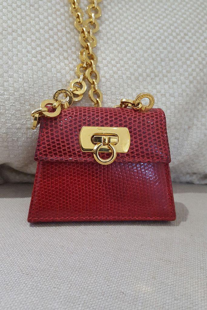 b405a38e2ebb VINTAGE SALVATORE FERRAGAMO Lizard Skin Mini Bag