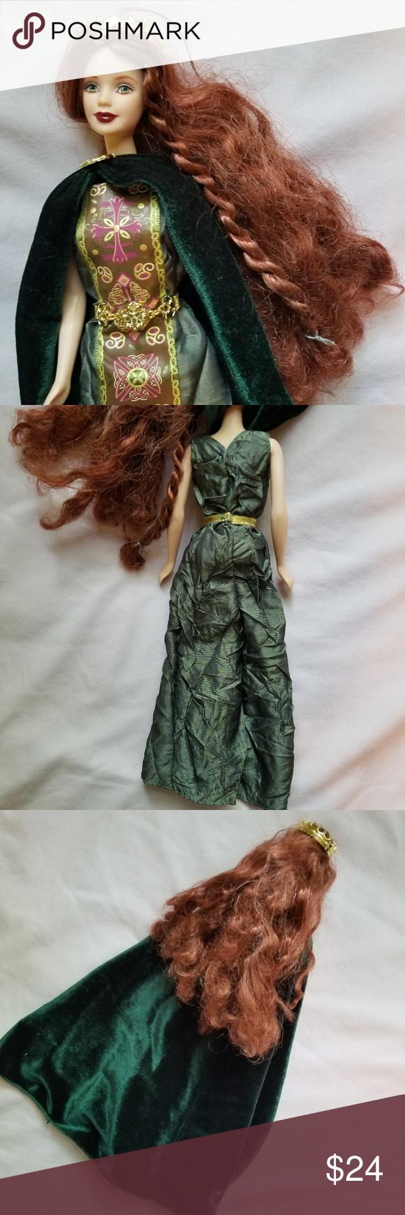 Green dress on pale skin  Princess of Ireland Barbie  Dolls of the World  Pinterest  Auburn