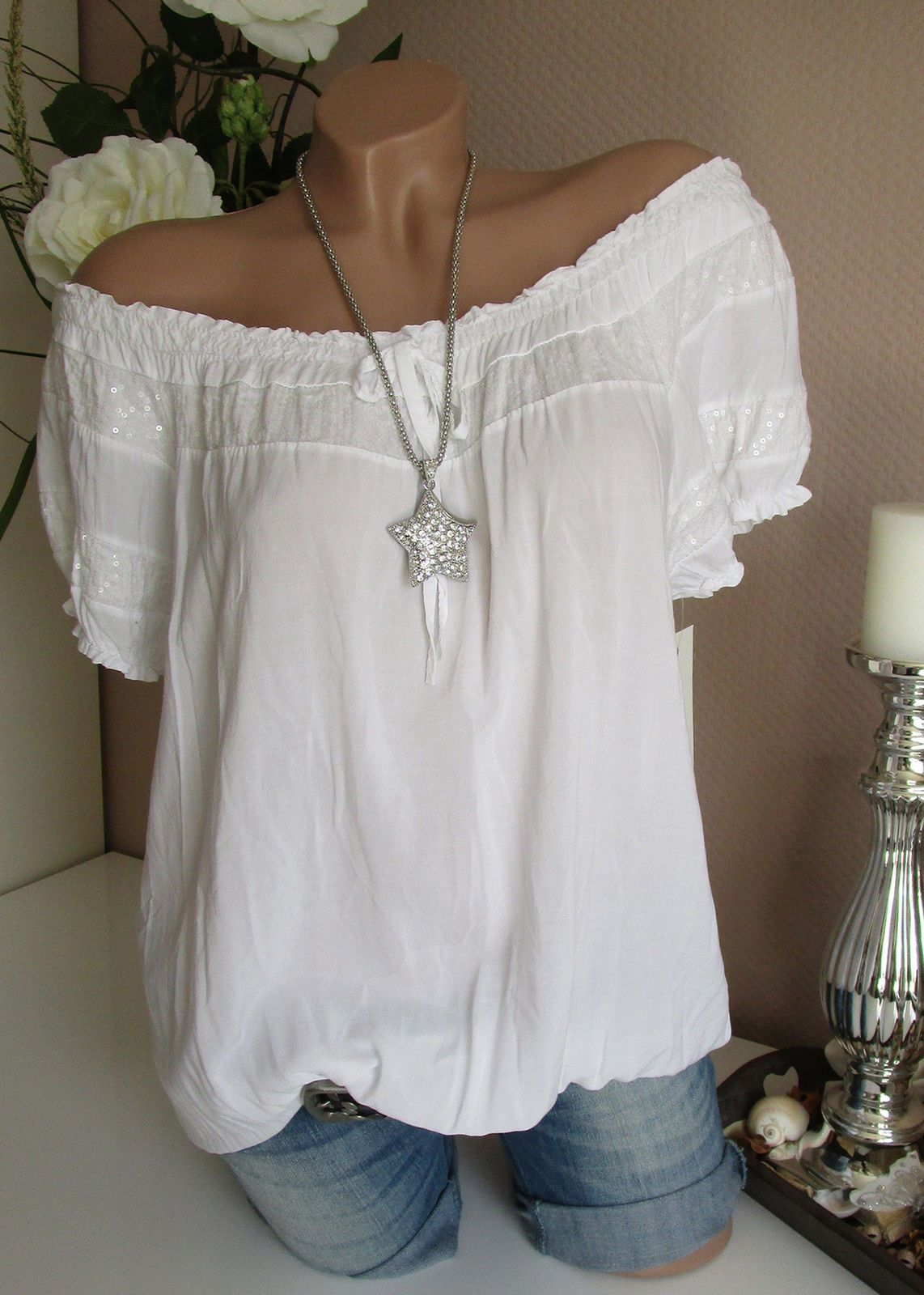 Italy bluse tunika hippie wei pailletten carmen shirt - Hippie bluse damen ...
