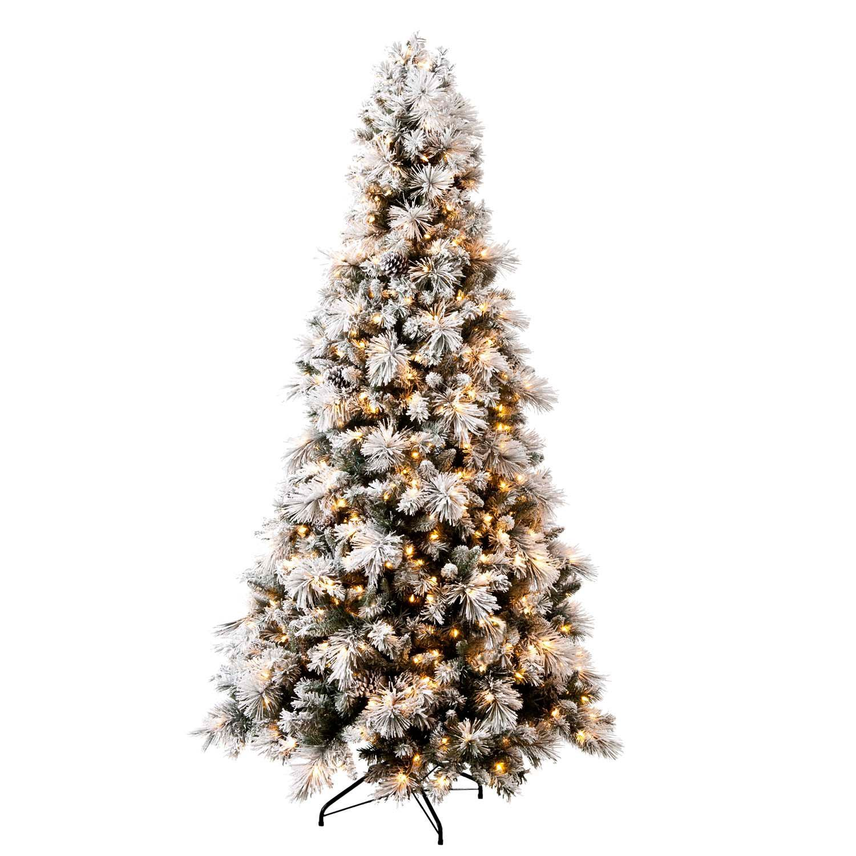 Sams Christmas Trees: Hallmark 7.5' Sugared Spruce Pre-Lit Tree